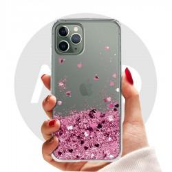 Obal na iPhone 11 Pro Max | Přesýpací kryt se srdíčky