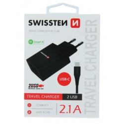 SWISSTEN síťový adapér IC 2x USB 2,1A + DATOVÝ KABEL USB / TYPE C 1,2 M - Černá