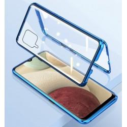 Magnetický kryt  360° s tvrzenými skly na Samsung Galaxy A12 - Modrá