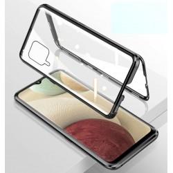 Magnetický kryt  360° s tvrzenými skly na Samsung Galaxy A12 - Černá
