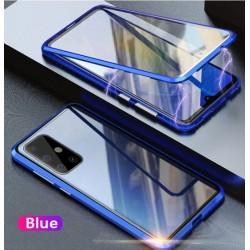 Magnetický kryt  360° s tvrzenými skly na Samsung Galaxy A52s 5G - Modrá
